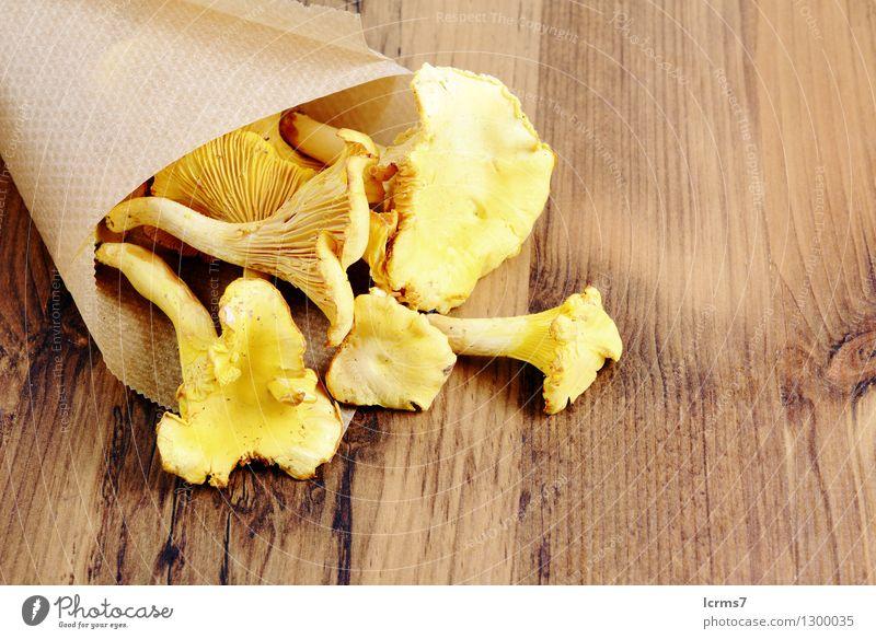 paper bag with golden canterelle on a table gelb Lebensmittel Ernährung Bioprodukte Pilz Vegetarische Ernährung
