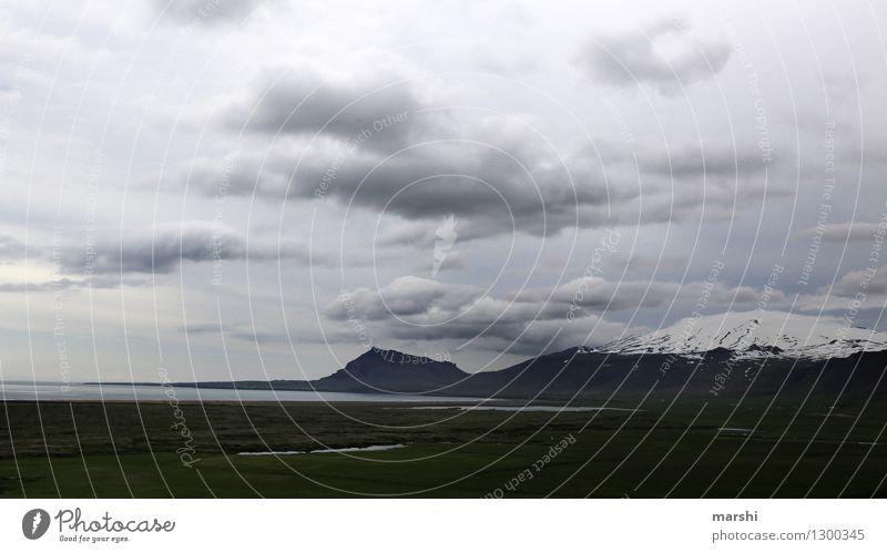 Islands Weite Umwelt Natur Landschaft Pflanze Tier Wolken Gewitterwolken Klima Wetter Schnee Berge u. Gebirge Gipfel Schneebedeckte Gipfel Gletscher Vulkan
