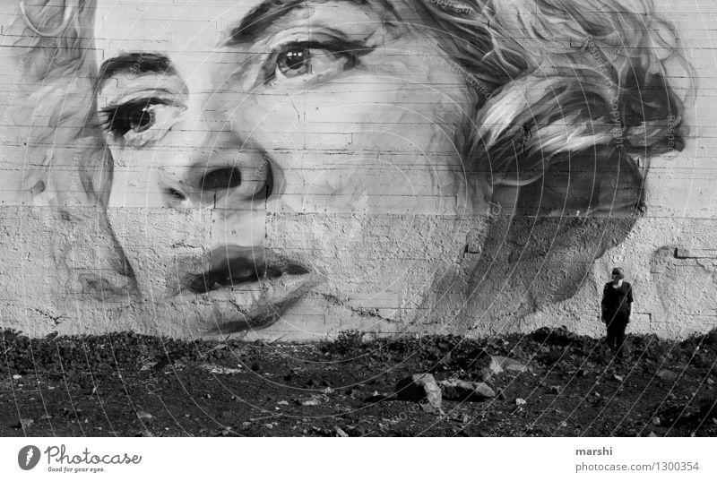 Dimensionen Lifestyle Stil Freizeit & Hobby Mensch Junge Frau Jugendliche Erwachsene Gesicht 1 30-45 Jahre Kunst Künstler Maler Kunstwerk Gemälde Mauer Wand