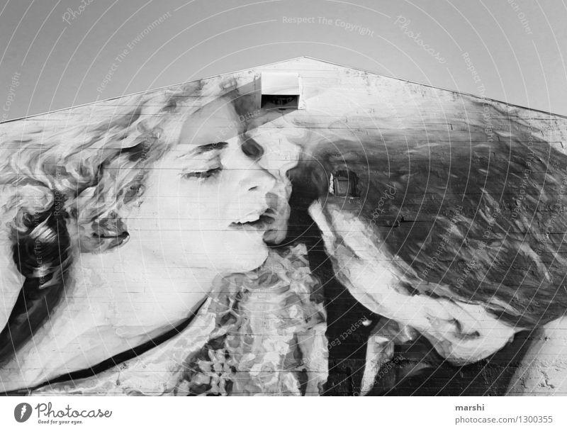 Stein auf Stein romantisch Kunst Kunstwerk Gemälde Architektur Haus Mauer Wand Fassade Stimmung Warmherzigkeit Sympathie Freundschaft Zusammensein Liebe