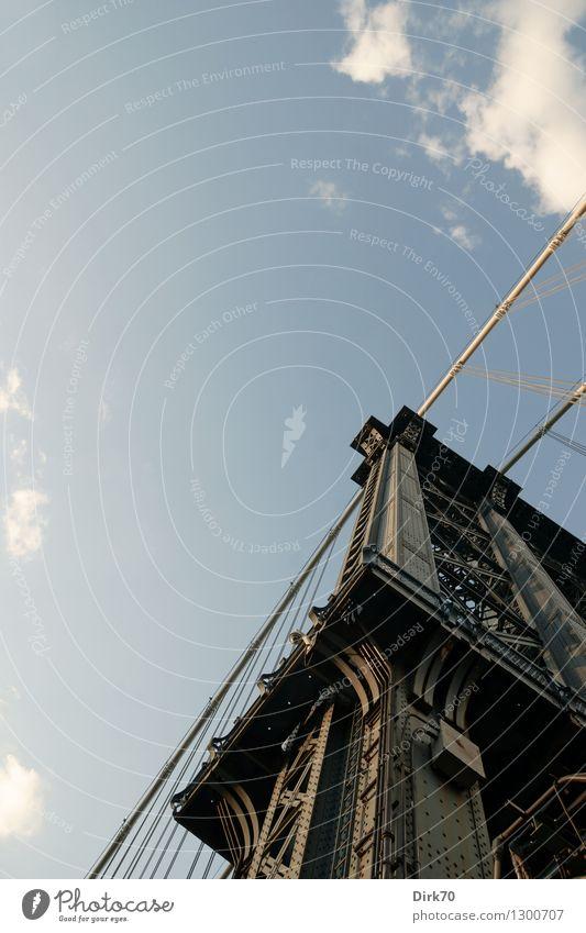 Stahlbau, ästhetisch Tourismus Güterverkehr & Logistik Himmel Wolken Sommer Schönes Wetter New York City Manhattan Brooklyn Stadt Stadtzentrum Brücke
