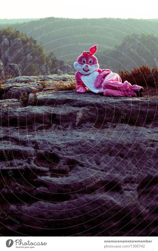 come closer Kunst ästhetisch Hase & Kaninchen Hasenohren Hasenjagd Hasenbraten Hasenzahn Hasenpfote Felsen rosa Karnevalskostüm verkleidet Körperhaltung Model