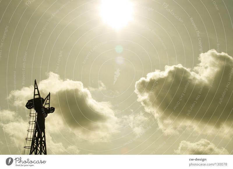 DIE INDUSTRIEROMANTIK Himmel Sonne Wolken schwarz Einsamkeit dunkel grau Beleuchtung kaputt trist Industrie Turm Romantik Güterverkehr & Logistik Bauwerk