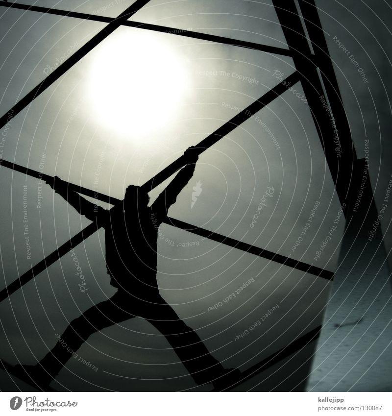 strompreissenkung Mensch Mann Wolken oben Architektur Energiewirtschaft hoch Erfolg gefährlich Elektrizität Lifestyle Turm bedrohlich Technik & Technologie festhalten Klettern