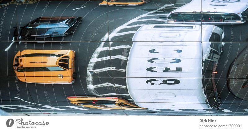 Manhattan IV Stadt gelb Straße Bewegung Wege & Pfade Stadtleben PKW Verkehr Güterverkehr & Logistik Spiegel Stress Verkehrswege Stadtzentrum Fahrzeug Surrealismus Autofahren