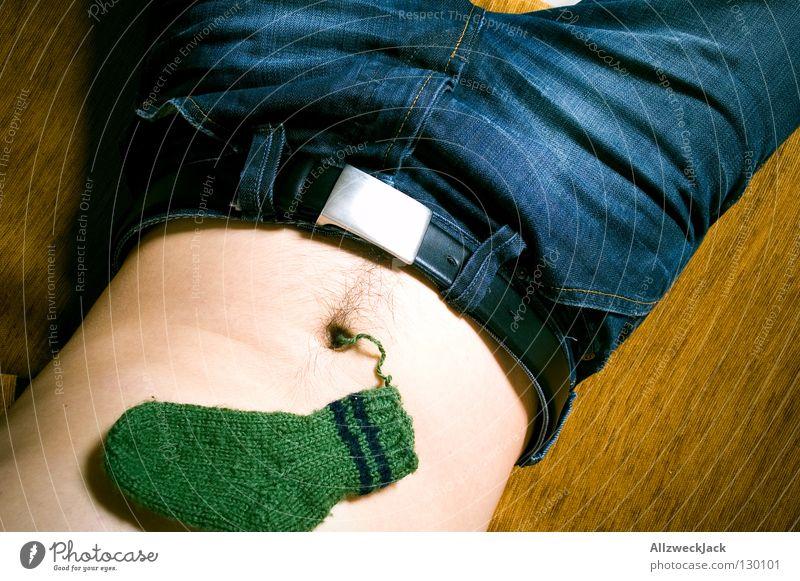 Bauchnabelflusen Mann Winter Wärme maskulin Bekleidung Jeanshose Physik Idee obskur Strümpfe Nähgarn innovativ Wolle stricken