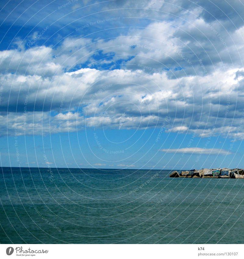 MOLE Meer Wolken Horizont Mole Beton Quadrat Anhäufung Buhne See Wasser Hafen Himmel blau Ferne tief Graffiti Kubus Wind Wetter Sonne