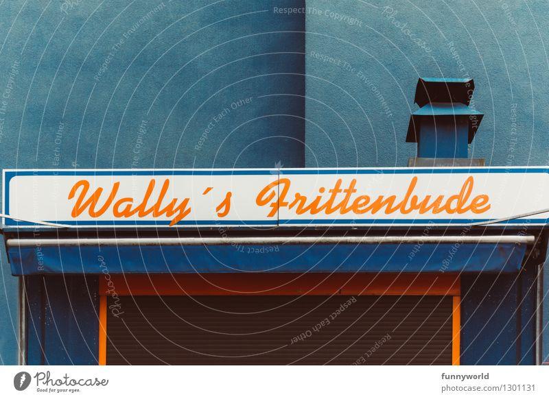Wally's Frittenbude, yeah! blau Stil Design orange Freizeit & Hobby Schilder & Markierungen geschlossen Pause Schornstein Symmetrie Fünfziger Jahre Snack Kiosk