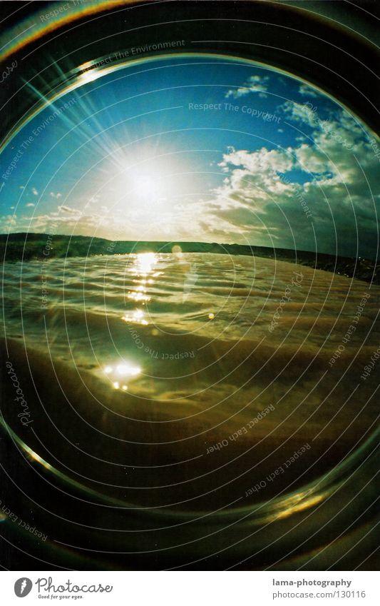 NATURWASCHGANG Sonne Sonnenstrahlen Sommer Wolken Bach See Pfütze Wellen Brandung Unterwasseraufnahme Gezeiten Reinigen dreckig Feld Landwirtschaft blenden