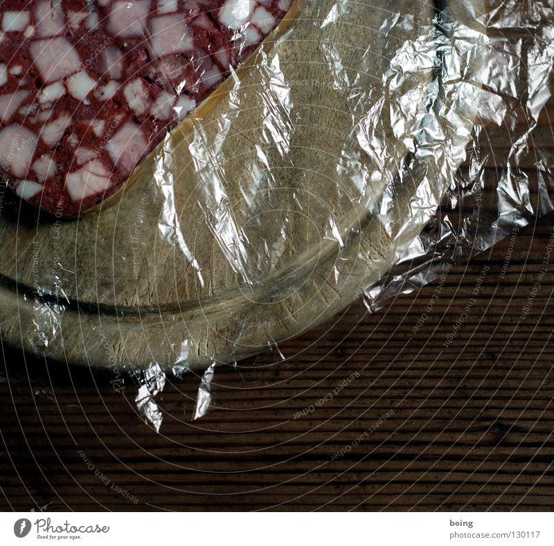 Terrazzowurst im Eck Lebensmittel Holz warten Sauberkeit Frühstück Handwerk Holzbrett Mahlzeit Fleisch Blut Haushalt Schwein Wurstwaren bedeckt Vesper