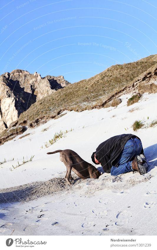 Schatzsuche.... Mensch Hund Natur Mann Sommer Meer Landschaft Tier Strand Erwachsene Berge u. Gebirge Küste Spielen Freiheit Felsen Sand