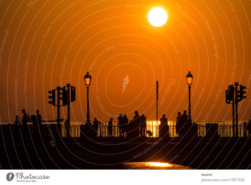 In der Dämmerung VI Mensch Menschengruppe Wasser Sonne Sonnenaufgang Sonnenuntergang Sonnenlicht maritim Brücke Brückengeländer Straßenbeleuchtung