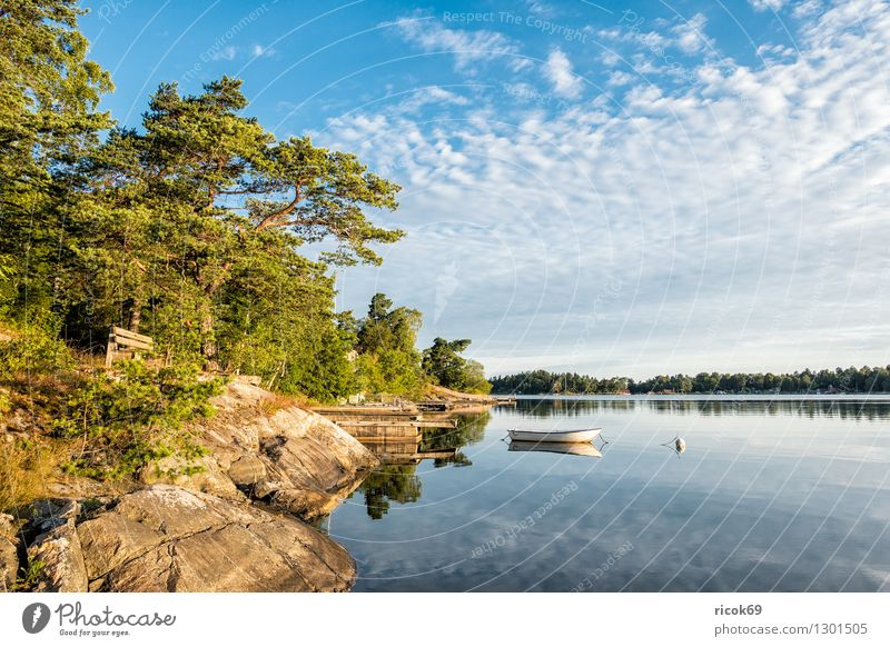 Schärengarten an der schwedischen Küste Natur Ferien & Urlaub & Reisen blau grün Baum Erholung Landschaft Wolken Wald Wasserfahrzeug Tourismus Insel Ostsee Steg