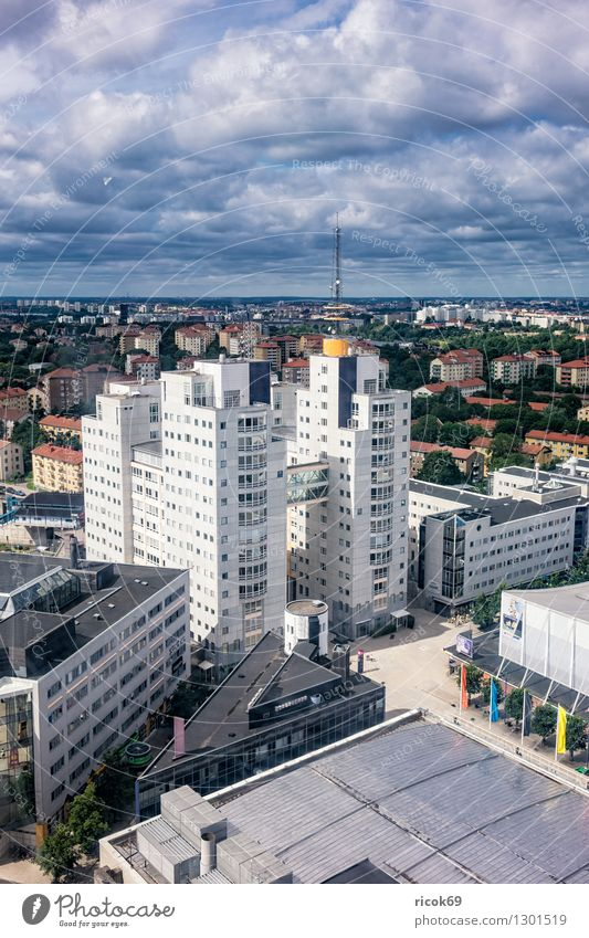 Blick auf Stockholm Ferien & Urlaub & Reisen Stadt blau Erholung Wolken Haus Architektur Küste Gebäude Tourismus Aussicht Hauptstadt Sehenswürdigkeit