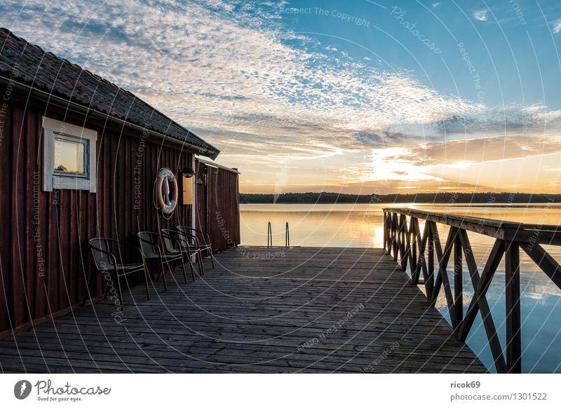 Schärengarten an der schwedischen Küste Natur Ferien & Urlaub & Reisen blau Erholung Landschaft Wolken Tourismus Insel Ostsee Hütte Steg Anlegestelle