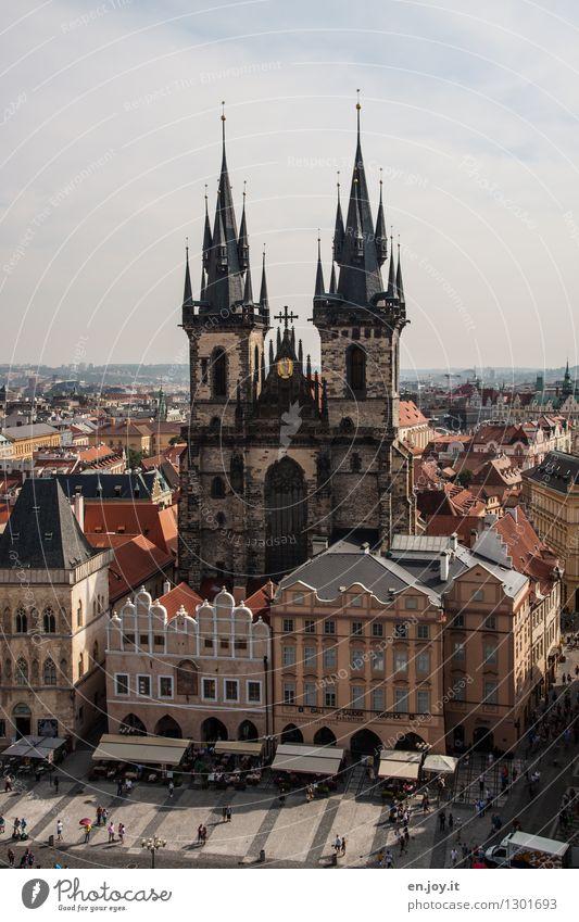 Teynkirche Ferien & Urlaub & Reisen Tourismus Ausflug Sightseeing Städtereise Sommerurlaub Himmel Horizont Schönes Wetter Prag Tschechien Europa Stadt