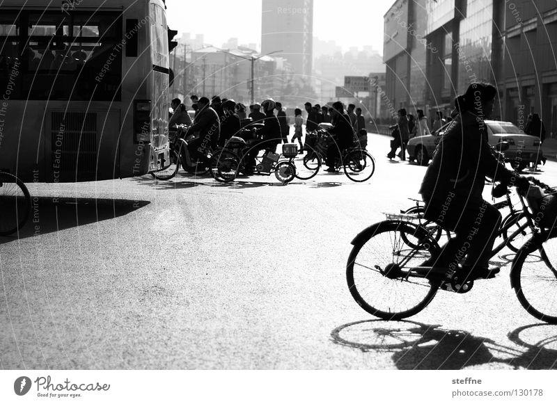 Auf dem kurzen Dienstweg Frau Mensch weiß Sonne Stadt schwarz Straße Arbeit & Erwerbstätigkeit Luft Fahrrad dreckig Nebel Umwelt groß Hochhaus Verkehr