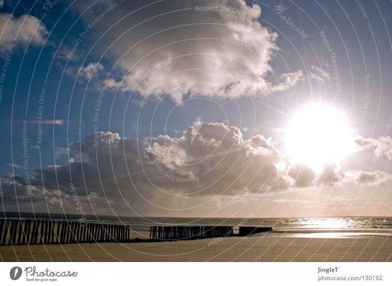 Weitsicht Strand Küste Wellen Buhne Gezeiten Ebbe Mondsüchtig Korn Müll Strandgut Unendlichkeit Wolken braun Reflexion & Spiegelung Aussicht atmen Sehnsucht