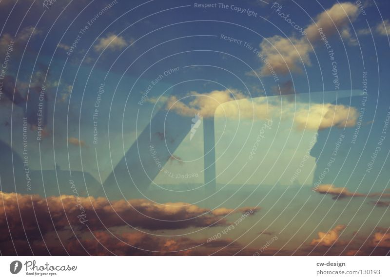 PARALLELWELTEN I Mensch Himmel Natur blau weiß Ferien & Urlaub & Reisen Wolken Erholung dunkel Fenster Freiheit grau Wege & Pfade PKW hell Raum