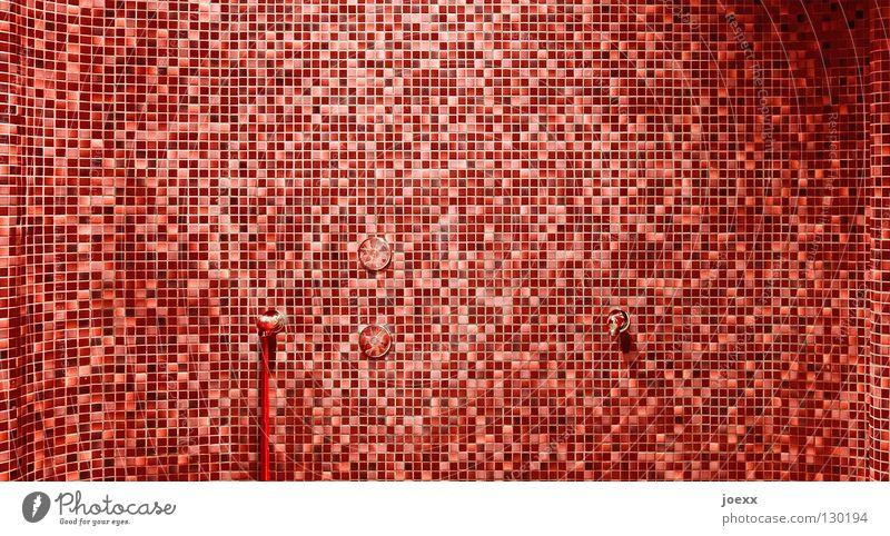 Einzelstücke rot Wand mehrere geheimnisvoll Fliesen u. Kacheln gruselig Muster Quadrat Flüssigkeit obskur viele Blut Aggression Schlauch Rechteck Wasserhahn