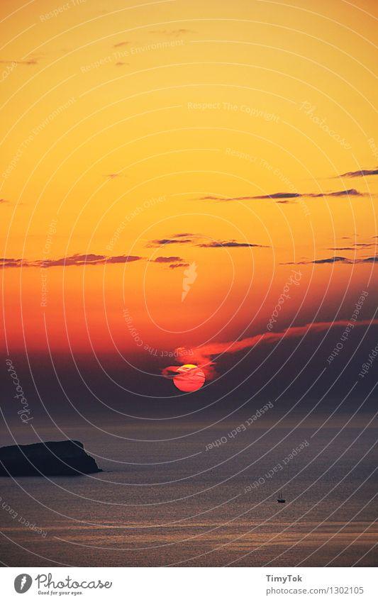Sonne erlischt Natur Landschaft Urelemente Himmel Wolken Nachthimmel Sonnenaufgang Sonnenuntergang Sommer Schönes Wetter Wärme Meer außergewöhnlich heiß Kitsch