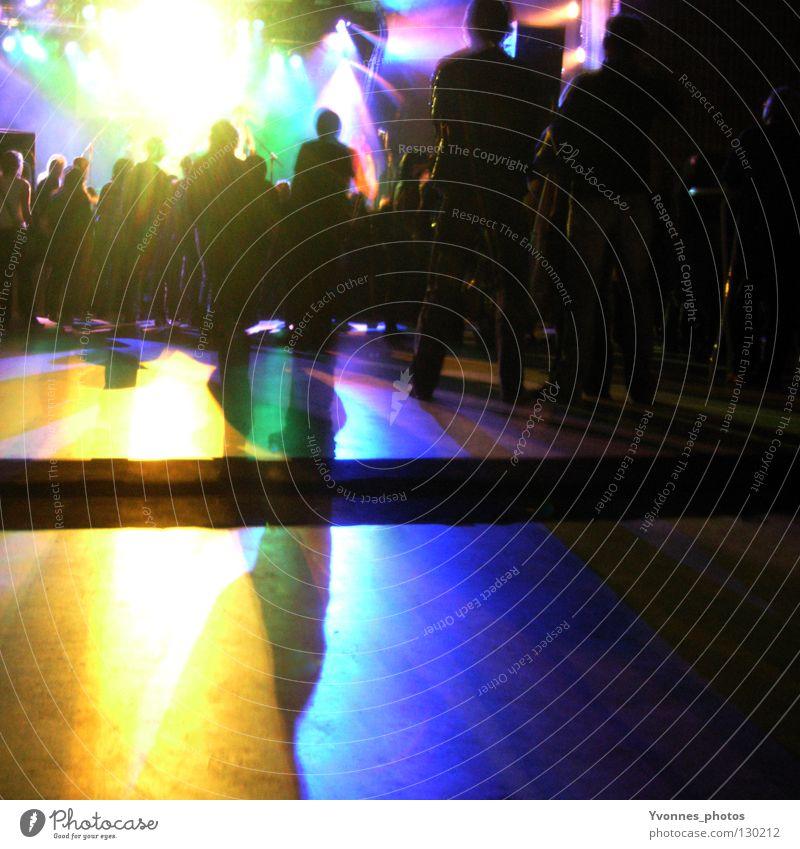 Light Explosion Farbfoto mehrfarbig Textfreiraum unten Nacht Licht Schatten Silhouette Freude Nachtleben Entertainment Party Veranstaltung Musik Club Disco