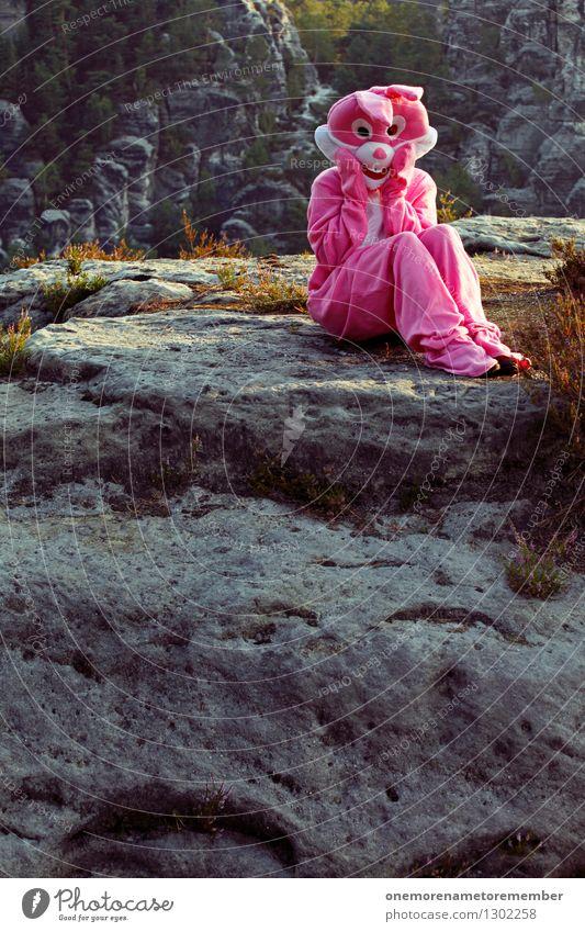 armes Häschen Kunst ästhetisch Unsinn Kostüm Karnevalskostüm rosa verkleidet verkleiden Schüchternheit erstaunt Hase & Kaninchen Hasenohren Hasenjagd Hasenzahn