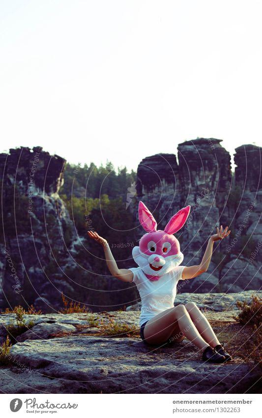 Tatatataaa Kunst Kunstwerk Abenteuer ästhetisch Hase & Kaninchen Hasenohren Hasenjagd Hasenbraten Hasenzahn feminin rosa Maske Felsen Sächsische Schweiz