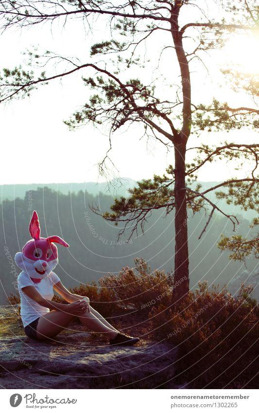 Chillin' Bun I Baum Erotik Freude feminin Kunst außergewöhnlich Felsen rosa Idylle ästhetisch Hase & Kaninchen Kostüm Kunstwerk Wildnis spaßig verkleiden