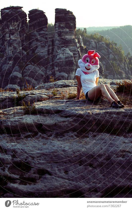Ostern in der Natur II Kunst ästhetisch Model feminin Erotik Naturphänomene Naturschutzgebiet Naturliebe Unsinn rosa Kostüm verkleidet sitzen Erholung Freude