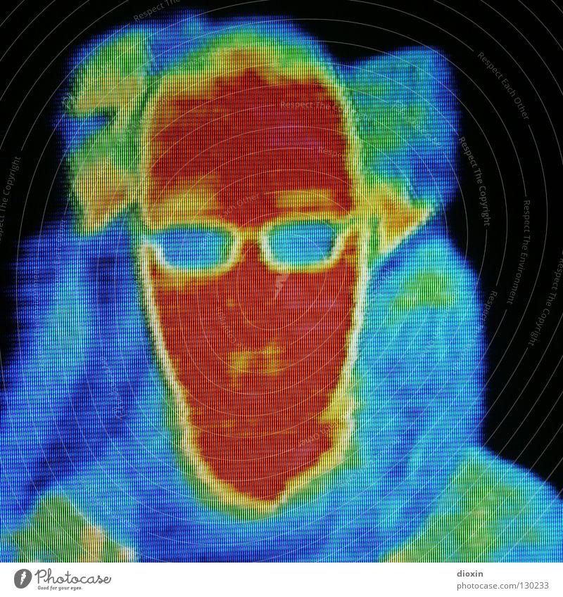 Me & the Heat #2 mehrfarbig Kunstlicht Licht Porträt Wissenschaften Mensch Mann Kopf Wärme Brille kalt Farbe Physik Selbstportrait Infrarotaufnahme