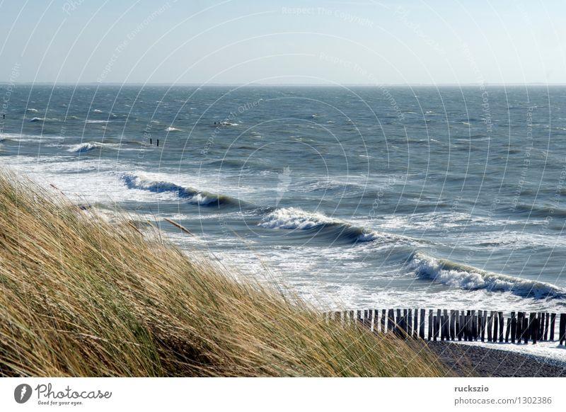 Kueste, Westkapelle, niederlande Stadt blau Wasser Meer Landschaft Strand Küste Wellen Schutz Dorf Nordsee Blauer Himmel hinten Niederlande Deich Eindruck