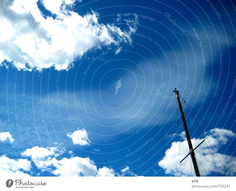 PASSERBY Wasserfahrzeug Wolken Luft Licht Himmel Schifffahrt Strommast Segel Rücken Seil blau Kontrast Wind Sonne