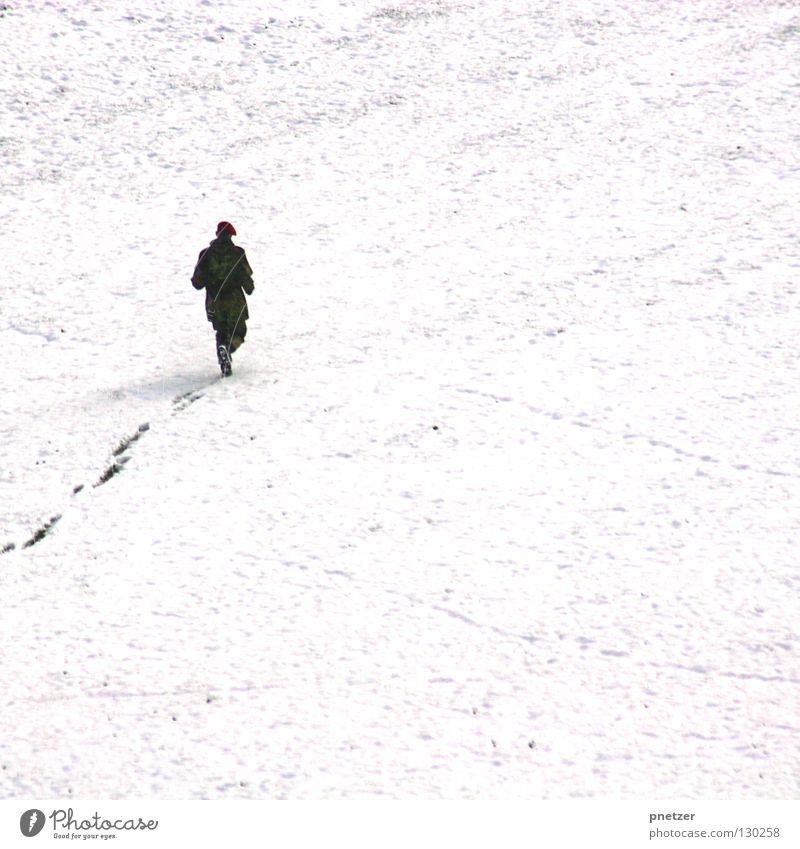 Tschnee Katze Mensch Mann weiß Winter Ferne kalt Schnee oben Wege & Pfade Eis gehen hoch rennen Spuren gefroren