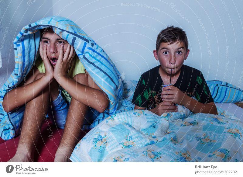 Geschockte Kinder vor dem Fernseher Raum Schlafzimmer maskulin 2 Mensch Fernsehen Fernsehen schauen Filmindustrie Video Blick schlafen gruselig Klischee Gefühle
