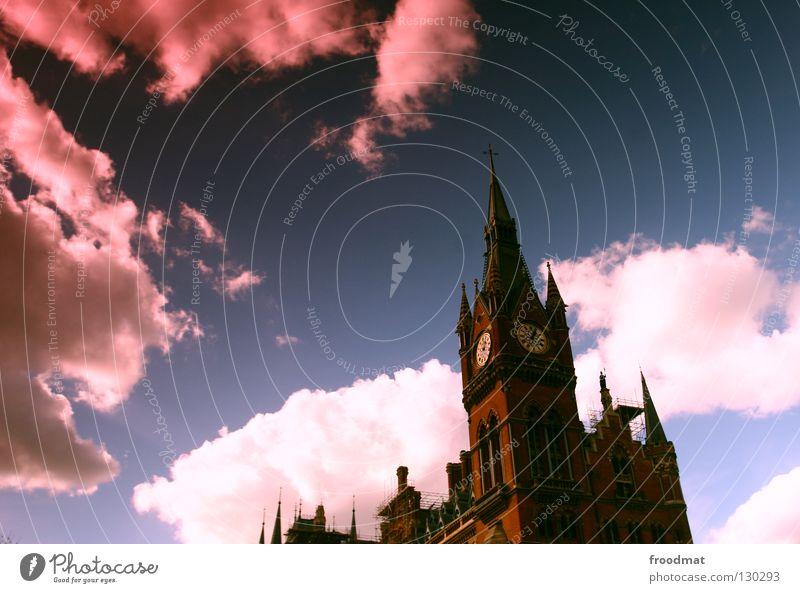 sunglasses Wolken Gebäude Uhr Zeit rosa dunkel London Großbritannien Sonnenbrille dramatisch geheimnisvoll historisch Himmel Surrealismus verrückt alt Spitze