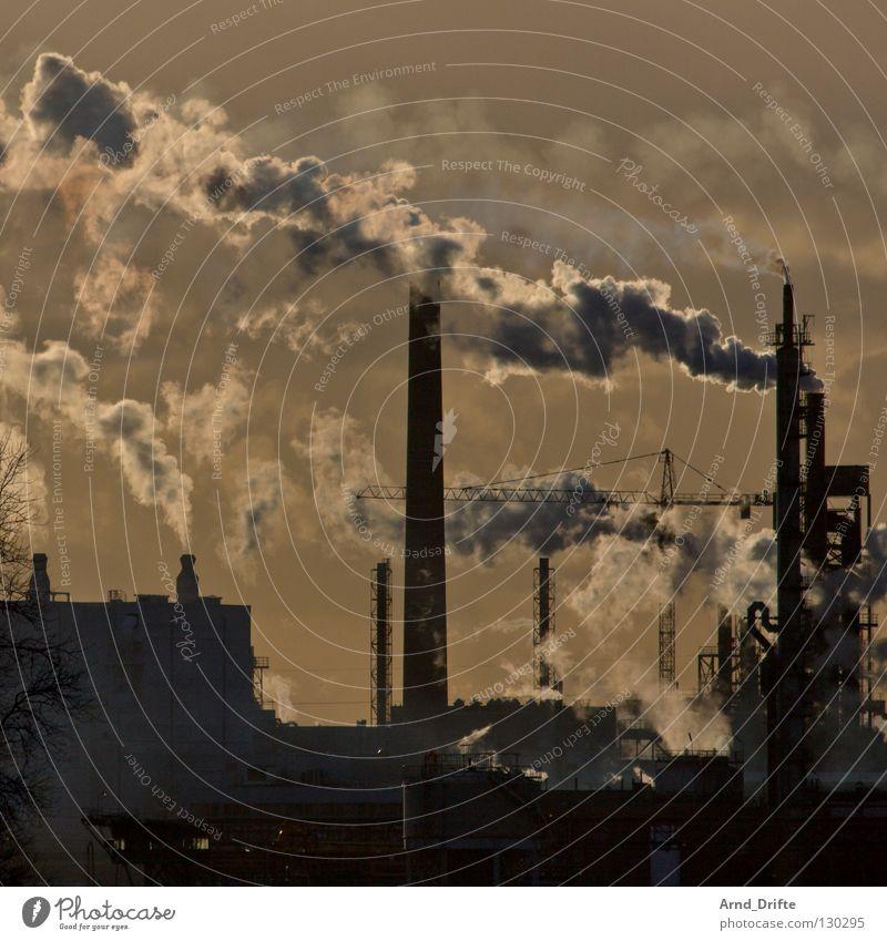 Schlote Himmel blau schwarz Wärme orange Umwelt hoch Industrie Romantik Niveau Gastronomie Rauch Rohstoffe & Kraftstoffe Abgas brennen