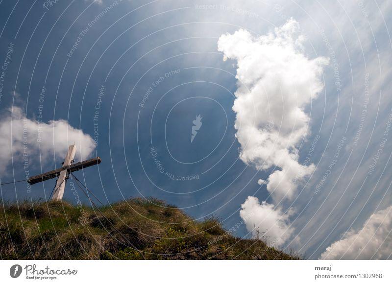 Gipfelsturm Himmel Natur Ferien & Urlaub & Reisen blau Sommer Erholung Landschaft ruhig Wolken Berge u. Gebirge Herbst Tod Stimmung wandern Erfolg Ausflug