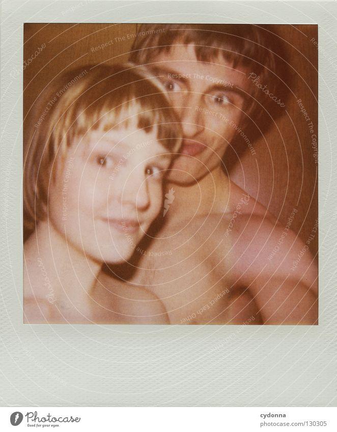 Gruppenfoto Frau Mensch Mann Freude Farbe Leben Gefühle Polaroid Kopf Fotografie warten Geschwindigkeit Perspektive retro Technik & Technologie analog