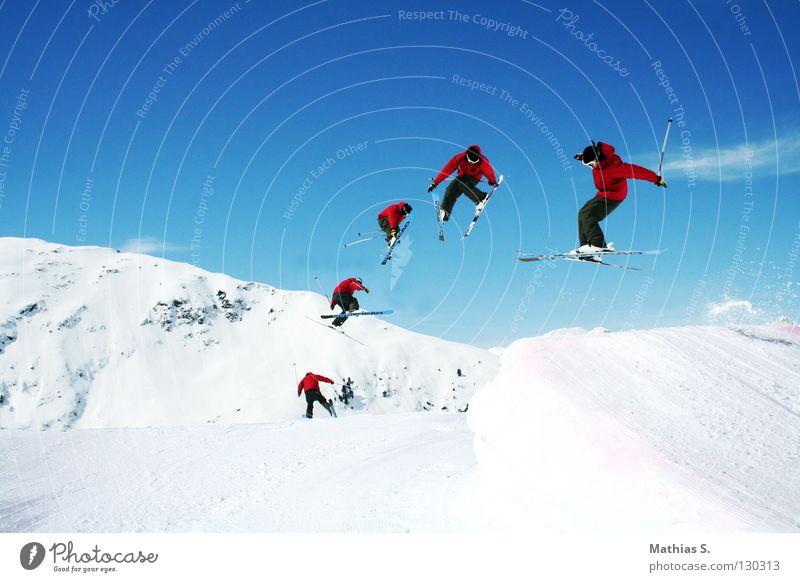 Spring Chill Sonne Wolken Freude Winter Berge u. Gebirge Schnee Stil Sport fliegen springen Freizeit & Hobby Luft hoch Alpen Skifahren Skier