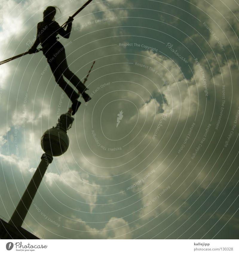 air berlin Frau Himmel Freude Sport Spielen Berlin Architektur springen Luft Kunst Freizeit & Hobby fliegen hoch Lifestyle Turm Fitness