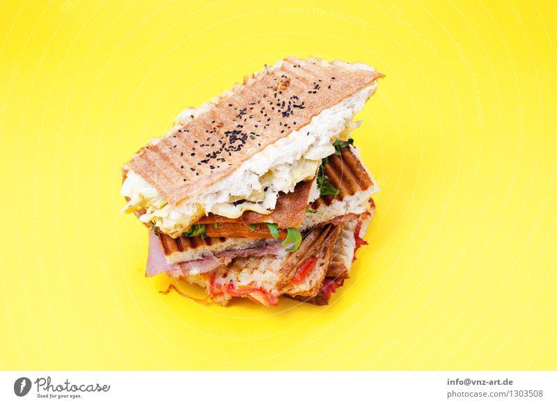 Sandwiches Farbe Gesunde Ernährung gelb Speise Essen Foodfotografie außergewöhnlich lecker graphisch Werkstatt Brot Mahlzeit Stapel Geschmackssinn Käse Snack