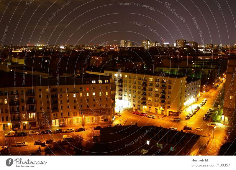 city gloom Nacht Stadt Beleuchtung Haus Berlin Licht Straße PKW