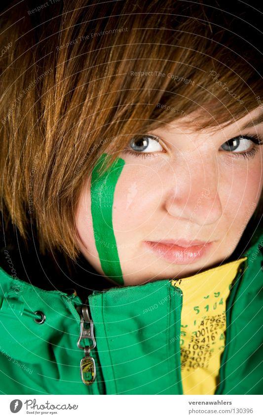 grün. Jugendliche blau Gesicht gelb Haare & Frisuren Linie Jacke