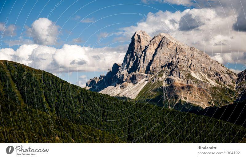 Peitlerkofel II Himmel Natur Ferien & Urlaub & Reisen blau grün Sommer weiß Landschaft Wolken Wald Berge u. Gebirge Umwelt grau außergewöhnlich braun Felsen