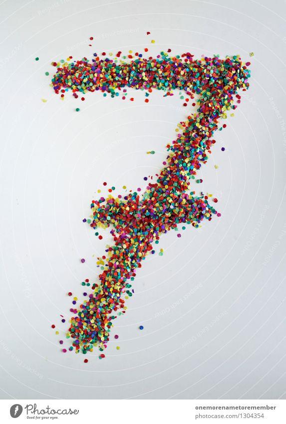 7 wie: Die kleinen Dicken Kunst Kunstwerk ästhetisch gebastelt Siebenkampf Ziffern & Zahlen mehrfarbig Punkt Kreativität Farbfoto Innenaufnahme Nahaufnahme
