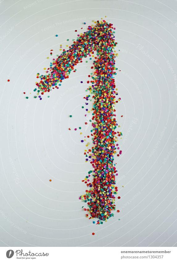 1 wie: Streber Kunst Kunstwerk ästhetisch Kreativität gebastelt mehrfarbig Ziffern & Zahlen viele Punkt Konfetti Farbfoto Innenaufnahme Experiment abstrakt