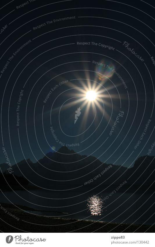 Sonne mit Bergen See dunkel Physik Herbst Himmelskörper & Weltall Berge u. Gebirge Spieglung Wärme Yellowstone Nationalpark