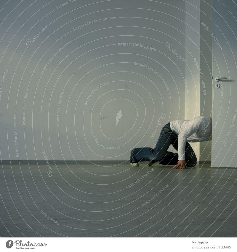 2 jahre photocase_von hier an blind Mensch Mann weiß Wand Tür Raum Wohnung Geburtstag leer Griff Jubiläum verlieren finden Wert Sucher Leerstand