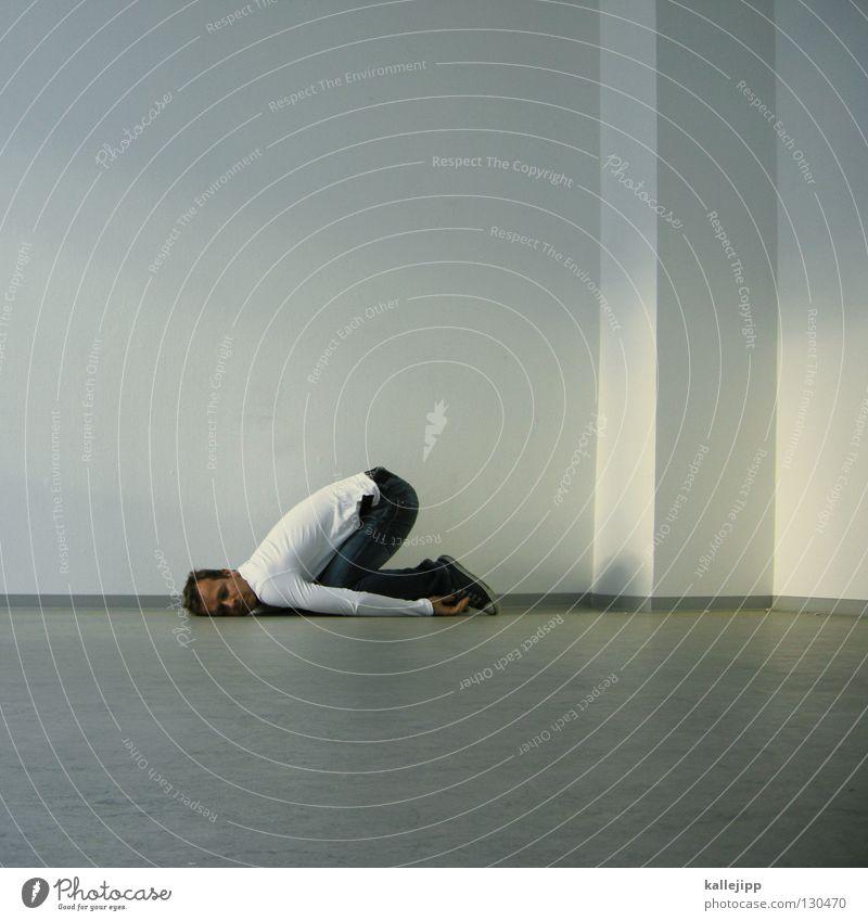 sich aufs ohr legen Mensch Mann weiß ruhig Wand träumen Tür Raum Wohnung schlafen leer Pause Ohr Griff verlieren finden